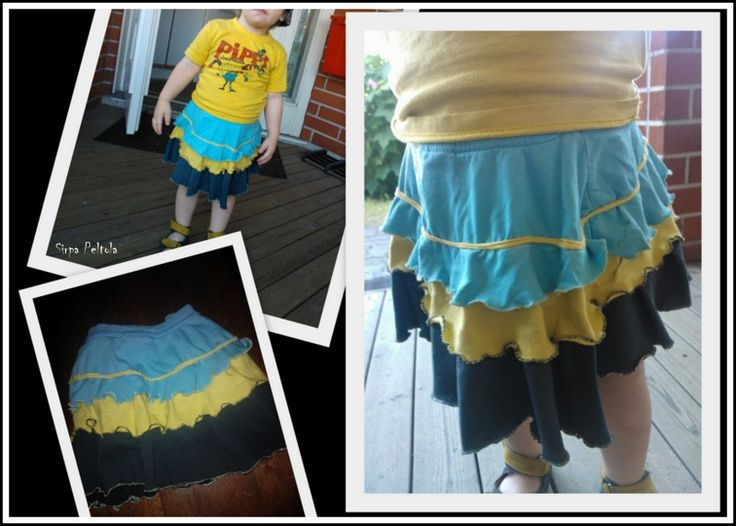 Pretty nice skirt made of old t-shirts :)