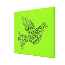 Blessings Dove, Inspirational Canvas Neon Green Canvas Print