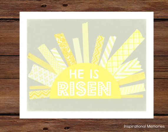 "Framed Christian Easter Sun Print  ""He is Risen!"" 8.5""x11"" or 5""x7"" Home Decor"
