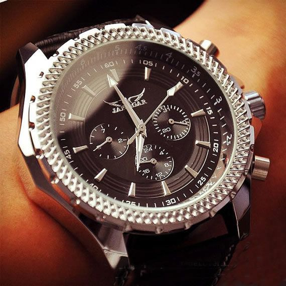 Stan vintage watches — Men's Handmade Watches, Black Leather Automatic Mechanical Watches