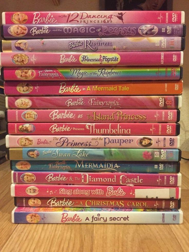 Lot Of 16 Barbie DVDs Christmas Carol Pegasus Thumbelina 12 Dancing Swan Lake
