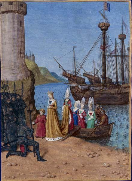 Retour d'Isabelle de France en Angleterre    Grandes Chroniques de France, enluminées par Jean Fouquet, Tours, vers 1455-1460  Paris, BnF, département des Manuscrits, Français 6465, fol. 338v. (Livre de CharlesIV le Bel)    Débarquant au port d'Harwick, Isabelle de France, épouse d'ÉdouardII d'Angleterre, accompagnée de son fils Édouard, s'adresse aux soldats venus l'appréhender.
