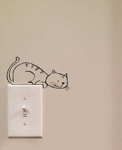 Pouncing Cat Light Switch Cute Vinyl Wall Decal Sticker Art