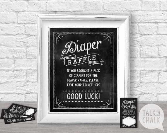 Baby Shower Diaper Raffle Sign PRINTABLE, Diaper Raffle Chalkboard Sign and…