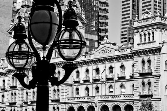 Hotel windsor melbourne cbd architecture victoria australia black and white art photograph print