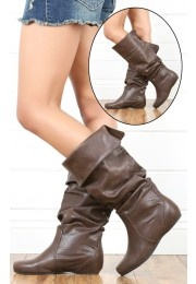 Tail Slouch Knee High Flat Boots BROWN