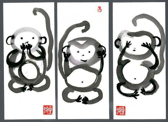 Three Monkeys Speak no...Hear no...See no.. 3  Fine Art Sumi Ink Zen Paintings by ZenBrush