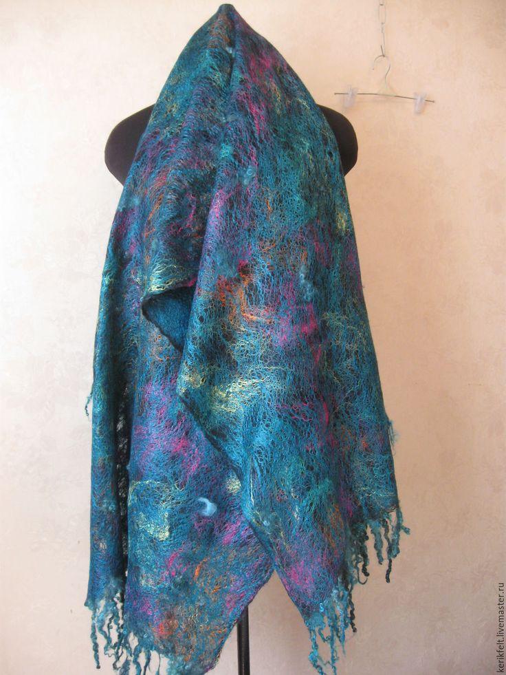Купить Палантин Морская волна войлок - абстрактный, морская волна, палантин, палантин валяный