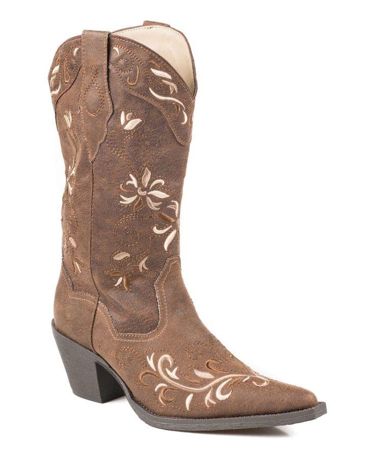 Love this Roper Brown Floral Embroidered Cowboy Boot by Roper on #zulily!  #zulilyfinds