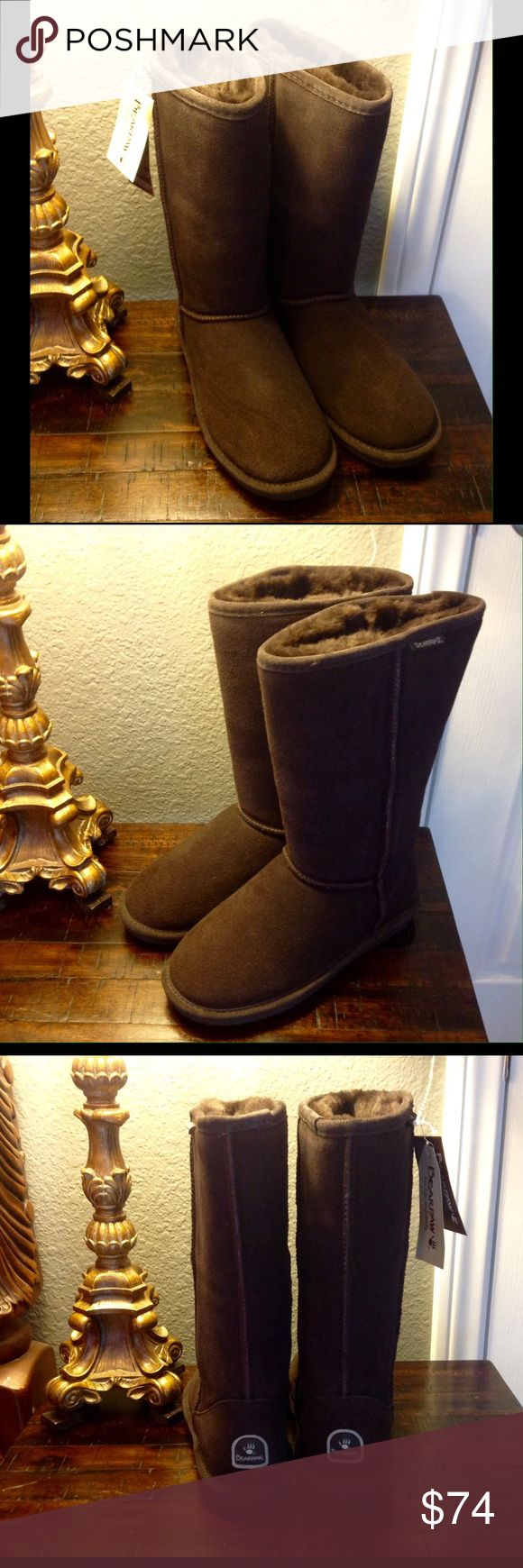 """""""HOST PICK"""" BEARPAW Emma Boots Brown Size 9 Taller And Toastier. Get the coverage you covet with the Bearpaw Women's Emma Tall Boot. The boot's 12-inch shaft height (measured from the arch) protects your leg a little more when you step out in a skirt; you also have the option of folding the top down for a different look. The Emma's sheepskin-wool lining and sheepskin footbed not only provide highly effective warmth, but they breathe and wick moisture. The redesigned rubber sole offers great…"""