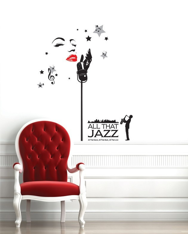 Jazz Wall Decals Music Theme Vinyl Stickers Removable Home Decor Designs Travel BedroomLiving Room