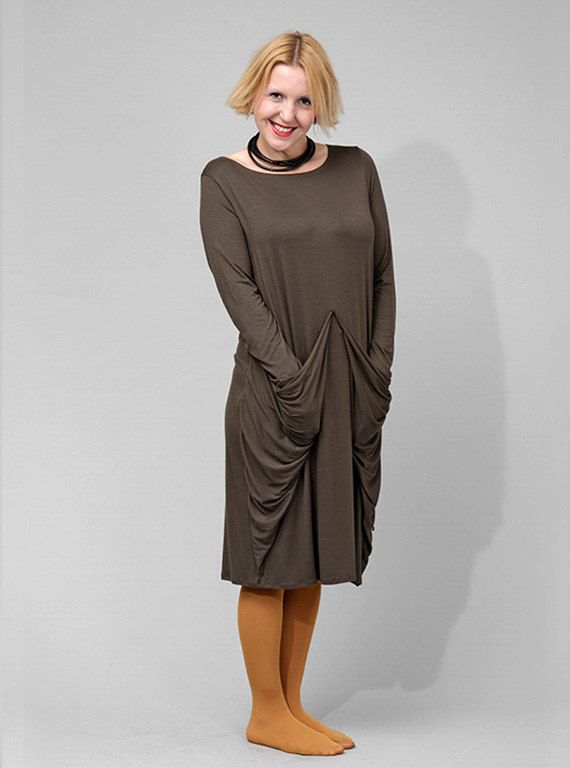 Loose jersey dress with big pockets