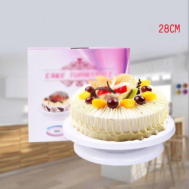Modern 28Cm Plastic Cake Stand Rotating Cake Stand Cake Decorating/Display Stand