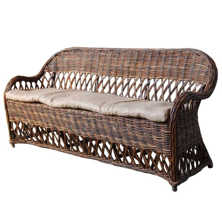 Organic Bar Harbor Style Rattan and Wicker Sofa