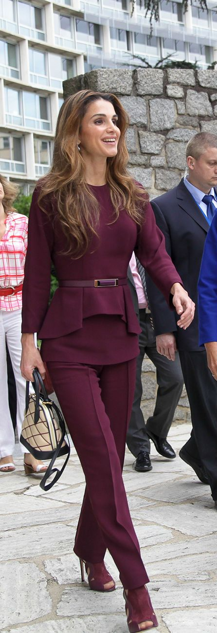 Queen Rania of Jordan is a confident dresser and not afraid to use colour to enhance her confidence. Sleek in Elie Saab at an official visit to Paris