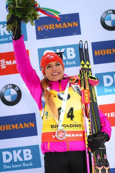Gabriela Koukalova of Czech Republic during the IBU Biathlon World Cup Women's Sprint on January 14, 2017 in Ruhpolding, Germany.: