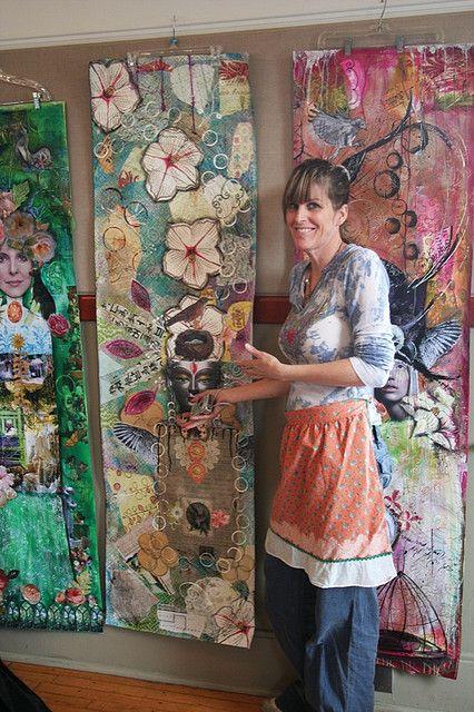 Kecia Beltz Beltz Frazee Deveney with her work at a class with Anahata Neuman Neuman Katkin /papaya