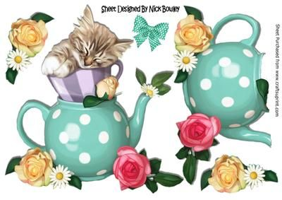 Cute kitten in teacup with bow and roses A4 on Craftsuprint designed by Nick Bowley - Cute kitten in teacup with bow and roses A4 lovely for scrapbooking, Also can be seen in 8x8, with topper, also can be seen in 8x8 mini kit, makes a pretty card - Now available for download!
