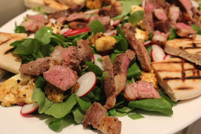 Lamb and haloumi salad - perfect summer dinner with watercress, fresh peas and a mint dressing