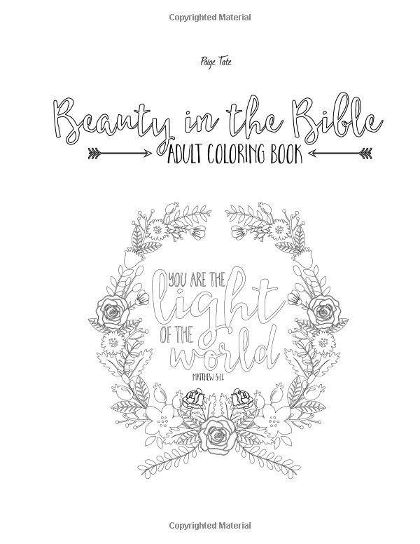 Beauty In The Bible Adult Coloring Book Paige Tate 9781941325223 Amazon
