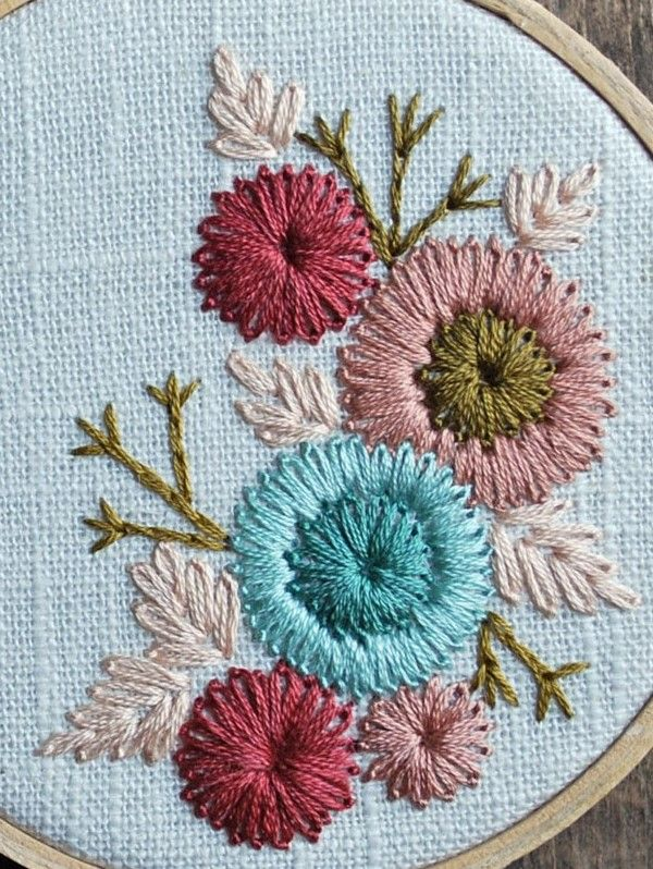 chain stitch flower embroidery