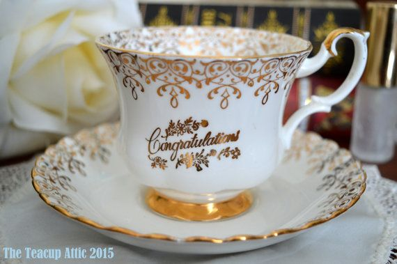 Royal Albert Gold Congratulations Teacup and by TheTeacupAttic