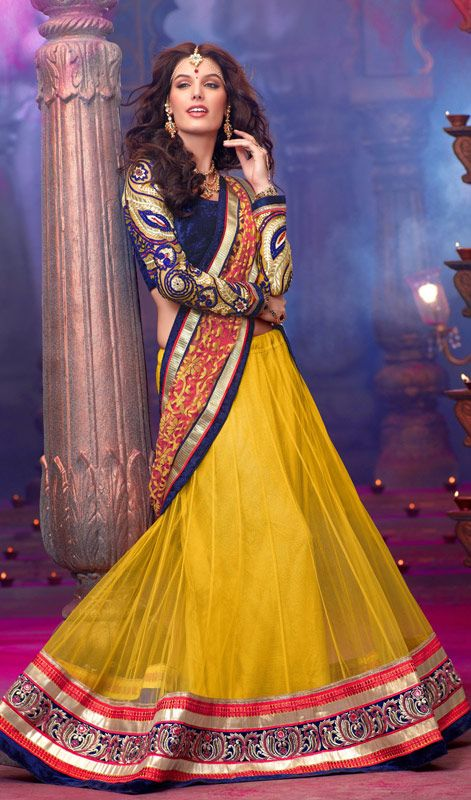 Mustard Embroidered Net A Line Lehenga Choli #SareesforWomen #BollywoodSarees