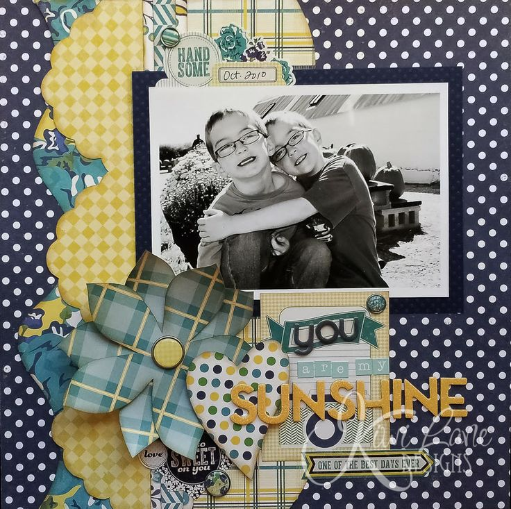 Kiwi Lane blog hop February project -- You Are My Sunshine -- www.MightyCrafty.me  Stunning framed layout using the Paradise and Sweetheart Designer Templates.