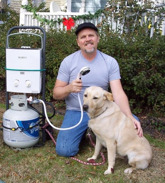 Portable tankless shower heater is great for pet grooming, camping or to have in your RV. Endless hot water! ~ http://walkinshowers.org/best-gas-tankless-water-heater-reviews.html