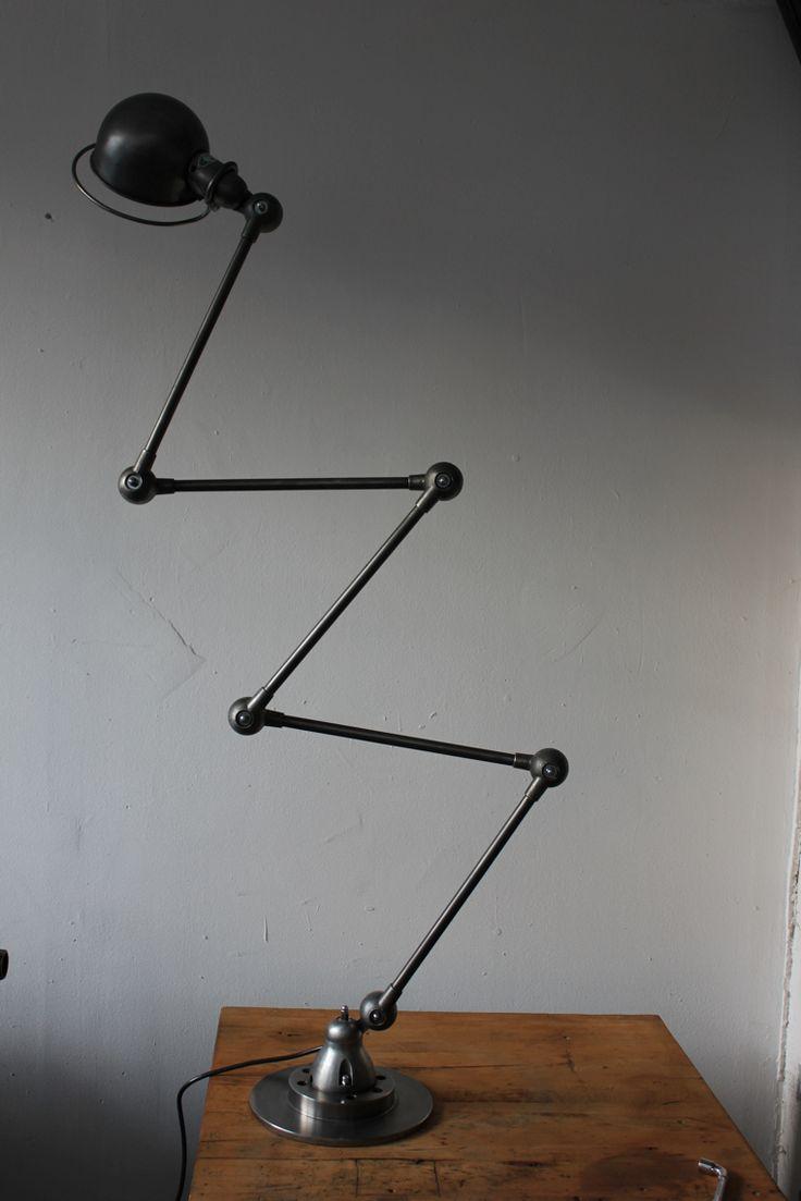 Lampe d atelier industrielle Jielde 5 bras polie graphite