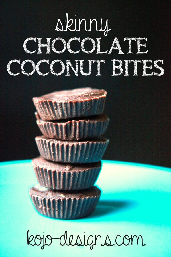 skinny chocolate coconut bites. made with coconut oil and cocoa powder. delicious!