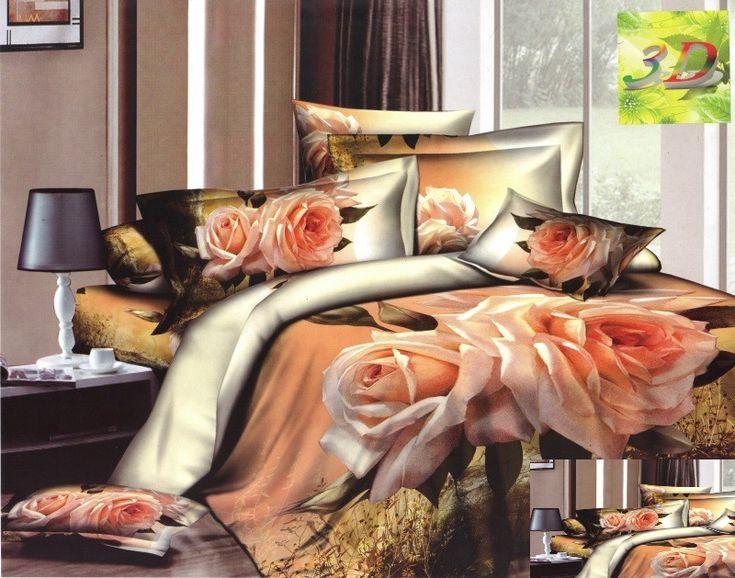 Satynowa beżowa pościel w kremowe róże