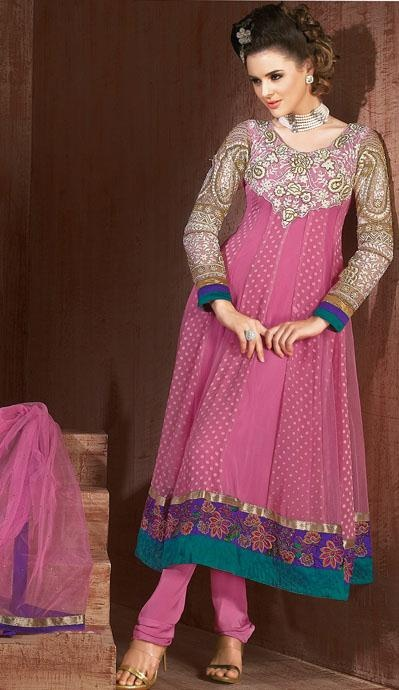 $100.21 Pink Full Sleeve Faux Georgette Long Anarkali Salwar Kameez 21674