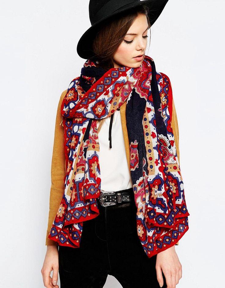 ASOS - Überdimensionierter Schal mit Paisleymuster und bedrucktem Rand - Mehrfarbig - Farbe:Mehrfarbig