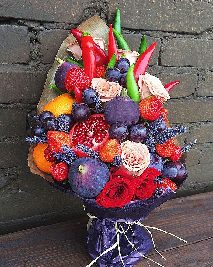 Букеты цветов с фруктами фото, доставка цветов саратове