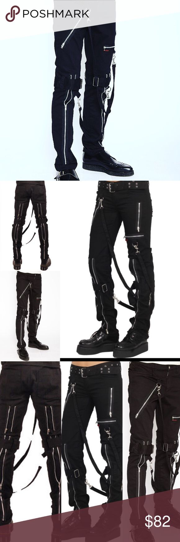 Men's Bondage Pants ❤️#Bondage #Strap #Industrial #obsidianclothingwear feature removable #bondage #straps and #zipper details. #Pant legs can be #zipped for a change in fit, topped off with a zip #fly and button closure. #metal#goth#meh#evil#club − 97% Cotton, 3% Spandex #club#evil#goth#industrial#gothic#men#fashion www.obsidianclothing.com Trippnyc  Pants Straight Leg