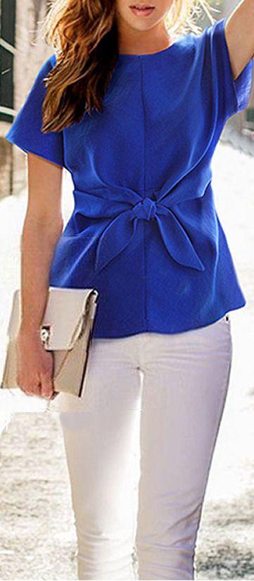 Cobalt Tie Front Blouse ❤︎