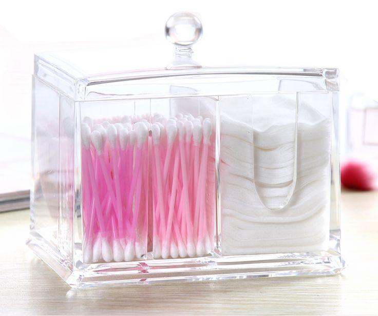 PuTwo Cotton Pads Holder Acrylic Makeup Organiser Cotton Swab Holder