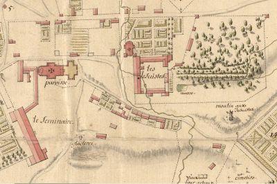 Plan de Québec de 1685 illustrant l'emplacement du collège des Jésuites en haute-ville de Québec. Les jardins du collège y sont également représentés, Notons également la présence d'un ruisseau traversant la propriété des Jésuites. (Plan de la ville et chasteau de Québec, fait en 1685, mezurée exactement, par le Sr de Villeneuve, Robert de Villeneuve, 1685, BNF, Dépôt des Fortifications des Colonies, FR CAOM 03DFC349B)