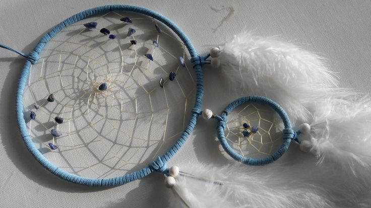 Traumfänger & Mobiles - Hellblauer Traumfänger mit Sodalith - ein Designerstück von Traumnetz-com bei DaWanda