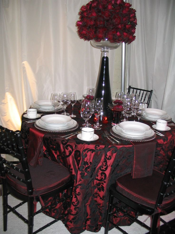 I Love The Black Lace Overlay On Top Of The Red Tablecloth.