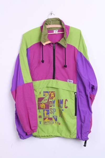 Hibernia Womens 54/56 4XL Vintage Nylon Jacket Multi Color Dynamic Sport Zip Neck - RetrospectClothes