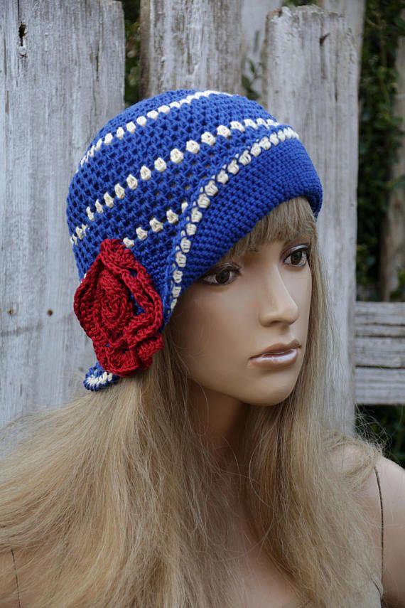 Summer Hat Crochet witch Red Rose Cloche Hat Blue Cotton