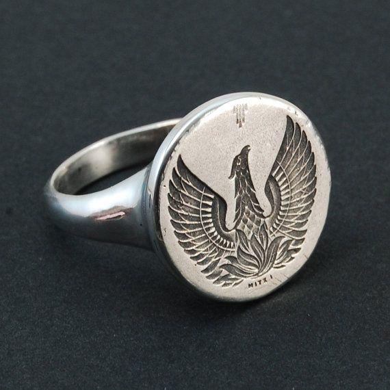Phoenix silver ring engraved signet ring