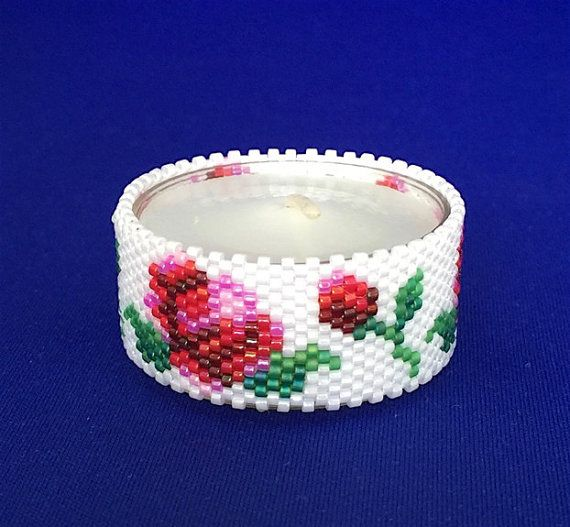Roses Tea Light Cover/Napkin Ring Bead by PhoenixWolfDesigns