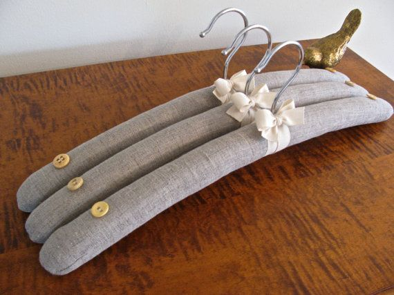 Christmas Gifting. Padded Hangers Belgium Linen Covers with Natural Organic by Out of the Closet Hangers.