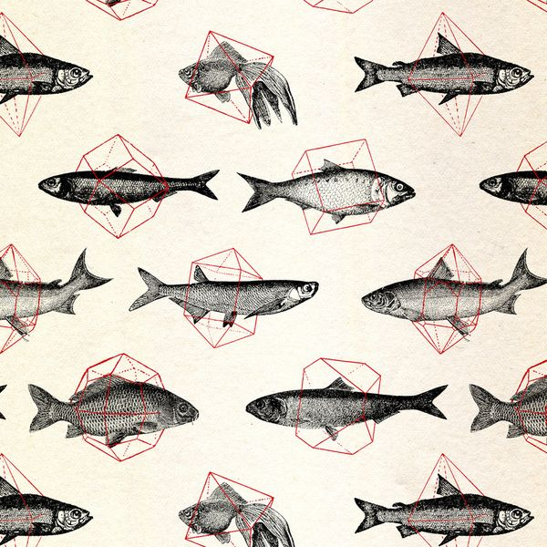 Fishes In Geometrics / speakernineGone Fish, Geometric Red, Pattern, Art Prints, Illustration Art, Geometric Shape, Red Art, Design, Bathroom Wallpapers
