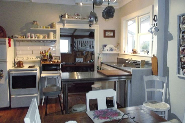 The kitchen of our 1890's villa after it's shoestring budget shabby chic make over.