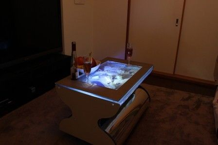 """Wine Table Aquarium. The wine table standard size is 31.5"""" wide x 19.7"""" inches deep x 21.65 inches high. Standard capacity is 26.4 gallons (100 liters). Bird's Eye Aquariums are the only table aquariums that offer distortion free viewing from above, due to an exclusive patented design."""