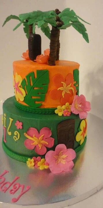 Hawaiian theme birthday cake